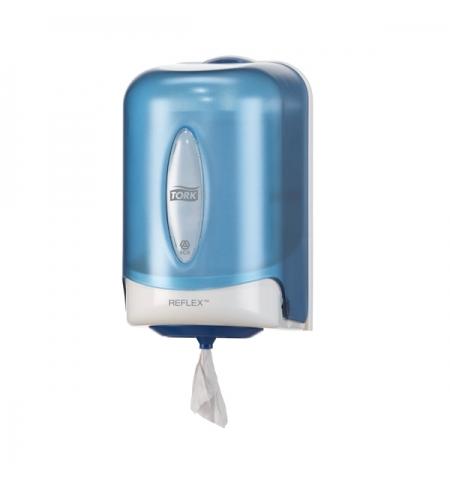 фото: Диспенсер для полотенец с центральной вытяжкой Tork Reflex M3 473137, мини, голубой