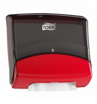 Диспенсер для протирочных салфеток листовых Tork Performance W4 654008, черно-красный