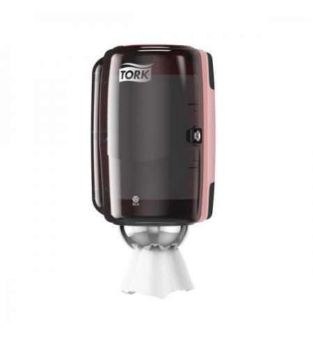 фото: Диспенсер для полотенец с центральной вытяжкой Tork Performance M1 658008, мини, черно-красный