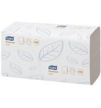фото: Бумажные полотенца Tork Premium H2 100288, листовые, 110шт, 2 слоя, белые