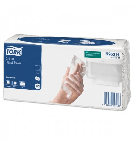 фото: Бумажные полотенца Tork Universal H3 471111, листовые, 120шт, 2 слоя, белые