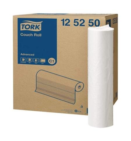 фото: Бумажные простыни Tork Advanced C1 125250, 50см х 50м, 132 листа, 2 слоя, белые