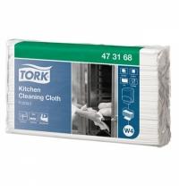 Протирочные салфетки Tork нетканые W4 473168, листовые, для кухни, 85шт, 1 слой, белые