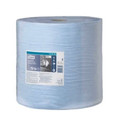 фото: Протирочная бумага Tork суперпрочная W1 130080, в рулоне, 255м, 3 слоя, голубая