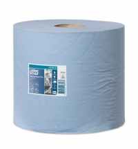 Протирочная бумага Tork Plus W1/W2 130052, в рулоне, 255м, 2 слоя, голубая
