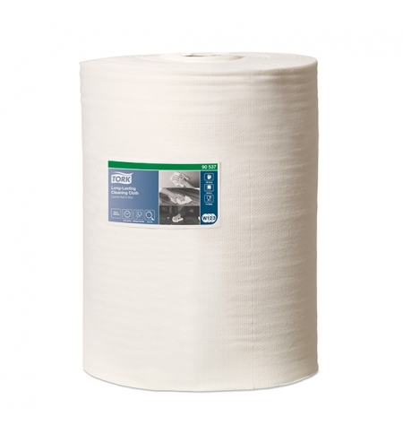 фото: Протирочный материал Tork Premium W1/W2/W3 905370, интенсивная очистка, в рулоне, 114м, 1 слой, белый
