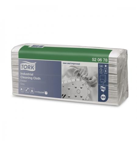 фото: Протирочные салфетки Tork нетканный W4 520678, листовые, для масла и жира, 120шт, серые
