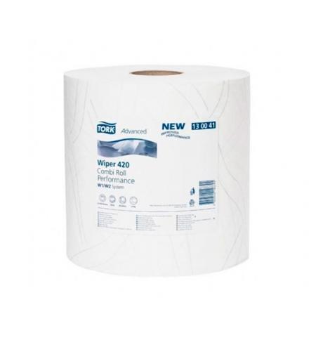 фото: Протирочная бумага Tork Plus W1/W2 130041, в рулоне, 255м, 2 слоя, белая