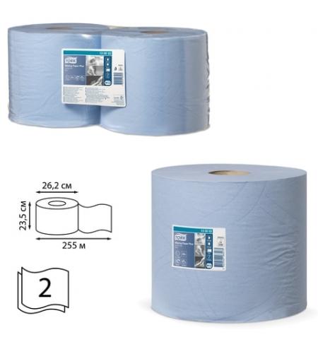 фото: Протирочная бумага Tork Plus W1/W2 130052, в рулоне, 255м, 2 слоя, голубая