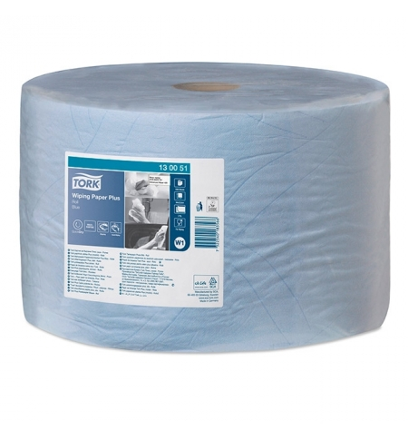 фото: Протирочная бумага Tork Plus W1 130051, в рулоне, 510м, 2 слоя, голубая