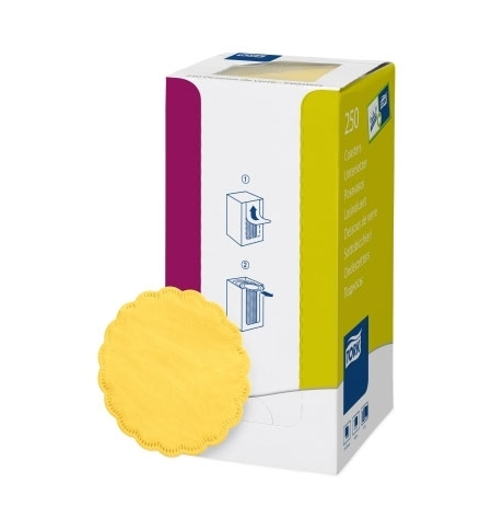 фото: Подкладка под чашку Tork Advanced желтая d 9см, 8 слоев, 250шт, 470244