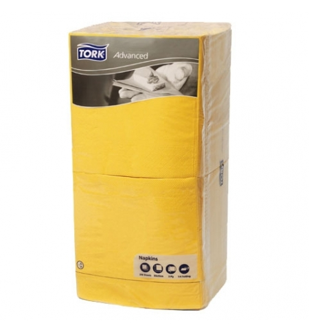 фото: Салфетки сервировочные Tork Advanced желтые 33х33см, 3 слоя, 250шт, 18343