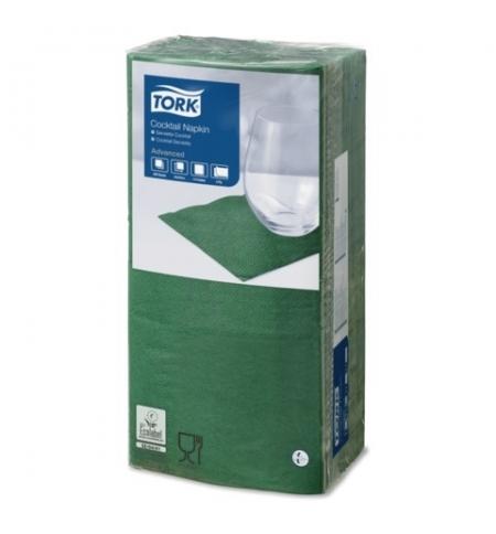 фото: Салфетки сервировочные Tork Advanced темно-зеленые 24х24см, 2 слоя, 200шт, 477827
