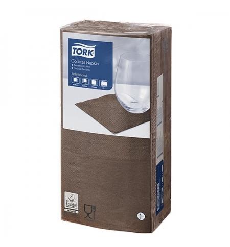 фото: Салфетки сервировочные Tork Advanced коричневые 24х24см, 2 слоя, 200шт, 477834