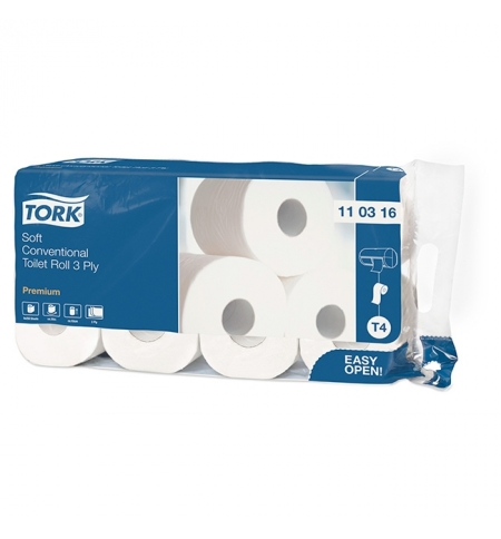 фото: Туалетная бумага Tork Premium T4 110316, 3 слоя, белая, 8 рулонов
