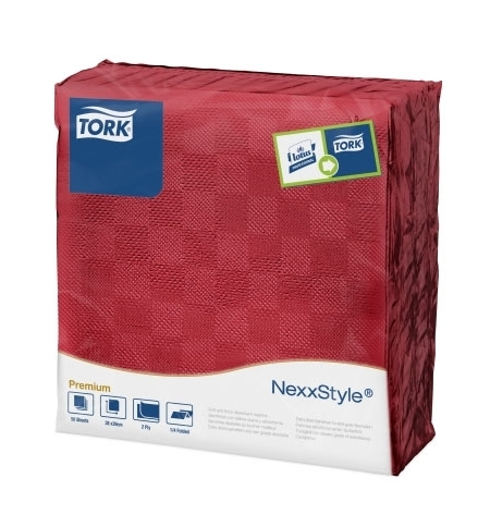 фото: Салфетки сервировочные Tork Premium красные, 39х38см, 2 слоя, 50шт, 478789